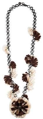 Lanvin Raffia Accented Chain Necklace w/ Tags