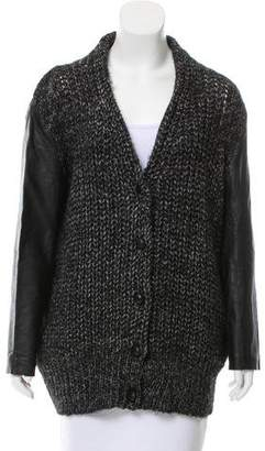 Alexander Wang Leather-Accented Oversize Cardigan