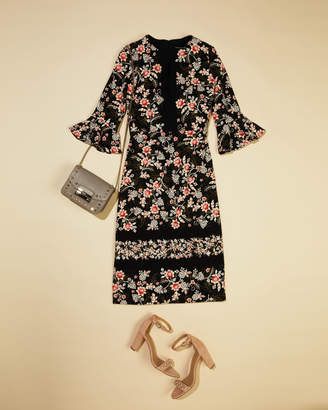 Maggy London 3/4 Flounce-Sleeve Floral-Print Scuba Crepe Sheath Dress