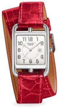 Hermes Cape Cod, Stainless Steel& Alligator Strap Watch