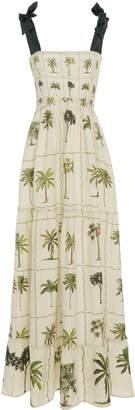 Agua Bendita Agua by Herbarium Floral-Print Linen Maxi Dress