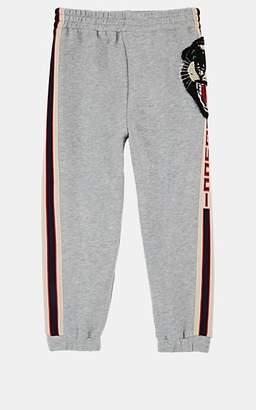 7f1408854 Gucci Kids' Tiger-Face-Patch Logo-Striped Cotton Terry Sweatpants - Gray