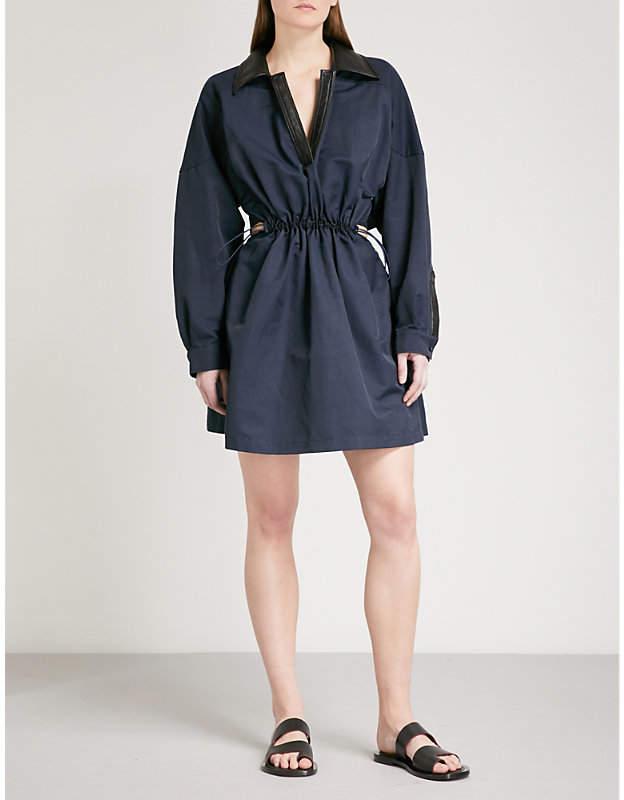 Short drawstring mini dress