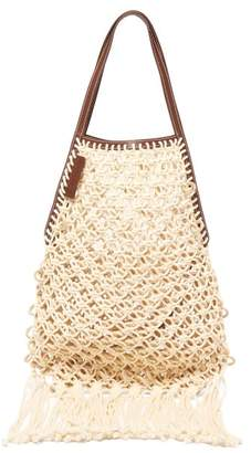 J.W.Anderson Leather Trimmed Macrame Tote - Womens - Beige Multi