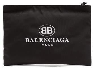 Balenciaga Logo Embroidered Coated Canvas Pouch - Mens - Black Multi