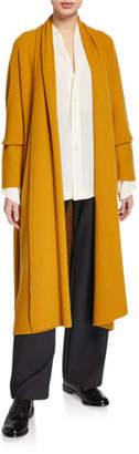 eskandar Cashmere A-Line Scrunched Shawl-Collar Cardigan