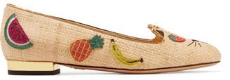 Charlotte Olympia - Fruit Kitty Embellished Raffia Ballet Flats - Beige $655 thestylecure.com