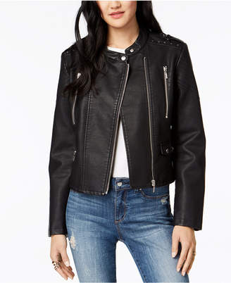 Moto Collection B Juniors' Studded Faux-Leather Jacket