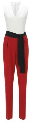 Hugo Boss Dasela Colorblock Crepe Jumpsuit 4 Red $795 thestylecure.com