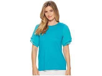MICHAEL Michael Kors Woven Georgette Flutter Sleeve Tee Women's T Shirt