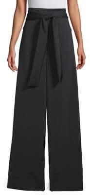 Tibi Faille Stretch Wide-Leg Pants
