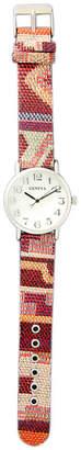 MOP OLIVIA PRATT Olivia Pratt Womens Silver-Tone Faux Dial Red-Orange Patterned Fabric Strap Watch 10352Tr