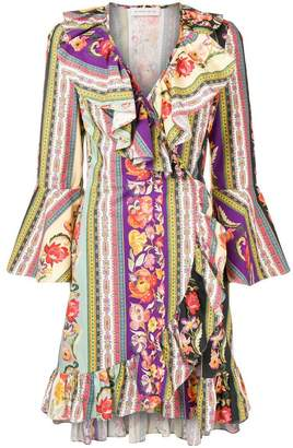 Etro multi-print wrap dress