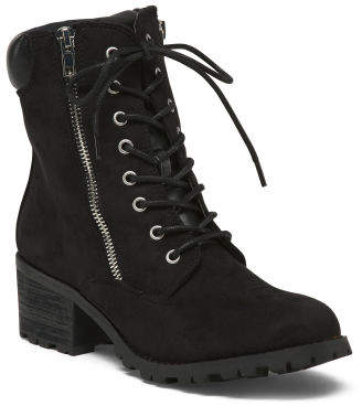 Lug Sole Stacked Heel Lace Up Boots