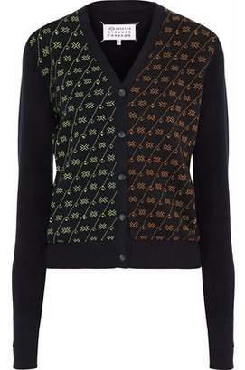 Maison Margiela Paneled Jacquard-Knit Cotton Cardigan