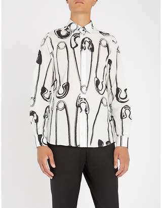 Moschino Safety pin-print regular-fit cotton shirt