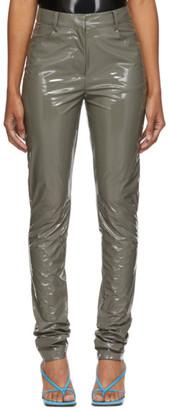 Tibi Grey Patent Skinny Trousers