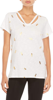 Andrew Marc Performance White Gold Pineapple Strappy Tee