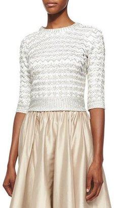 Jenny Packham Half-Sleeve Chevron Beaded Top, Ivory $3,365 thestylecure.com