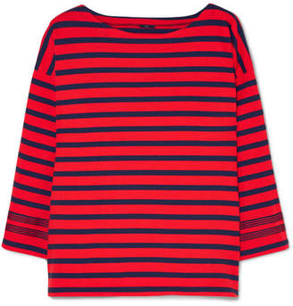 J.Crew Grosgrain-trimmed Striped Cotton-jersey Top - Red