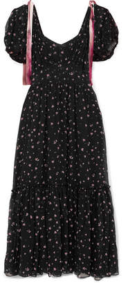 LoveShackFancy Angie Gathered Floral-print Silk-georgette Maxi Dress - Black