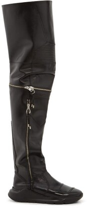 Toga Over The Knee Leather Biker Boots - Womens - Black