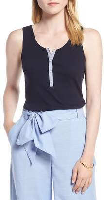 1901 Ribbed Henley Cotton Blend Tank Top (Petite)