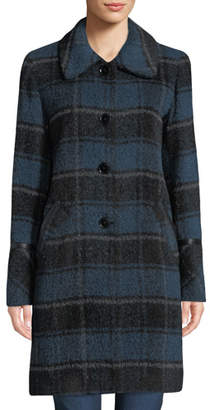Sofia Cashmere Plaid Alpaca Car Coat w/ Leather Trim