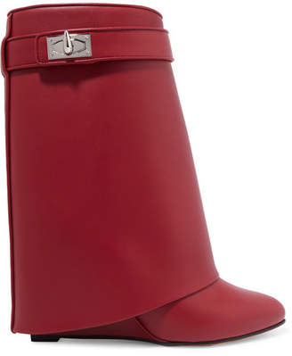 Givenchy Shark Lock Leather Boots - Red