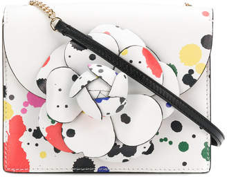 paint spatter flower shoulder bag