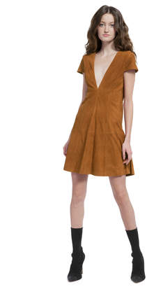 Alice + Olivia AMARA SUEDE DEEP V BABY DOLL DRESS
