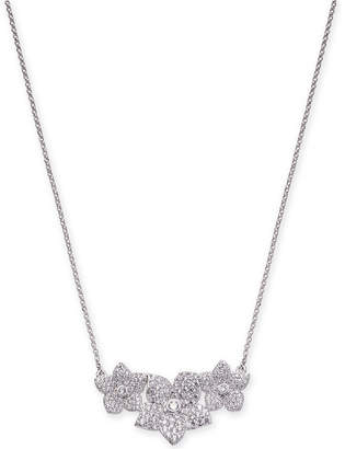 "Kate Spade Silver-Tone Pave Flower Pendant Necklace, 17"" + 3"" extender"