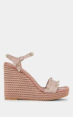 Valentino Garavani Women's Rockstud Torchon Leather Wedge Sandals - Nudeflesh