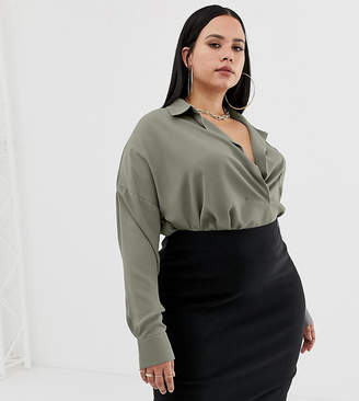 Missguided Plus exclusive plus pocket detail shirt in khaki