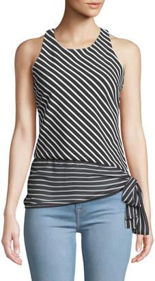 T Tahari Striped Knit Sleeveless Blouse with Tie Hem