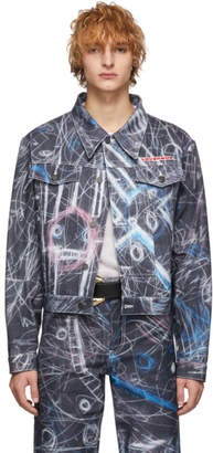 Charles Jeffrey Loverboy Blue Denim Chalk Madness Jacket