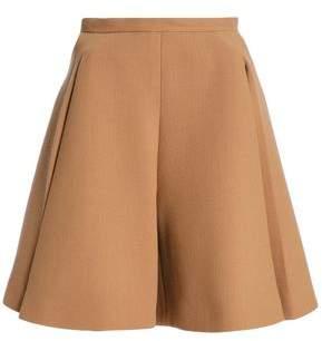 DELPOZO Flared Wool-crepe Shorts