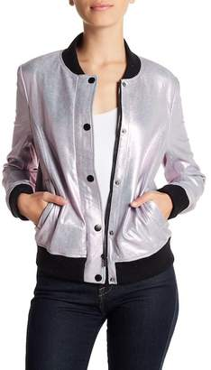Bagatelle Crackle Metallic Suede Leather Bomber Jacket