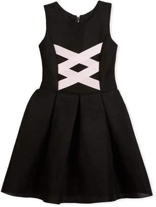 Zoe Box-Pleat Sleeveless Dress w\/ Ballet Lace-Up Front Black\/Pink Size 4-6X