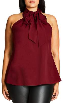 City Chic Sleeveless Tie Neck Blouse $59 thestylecure.com