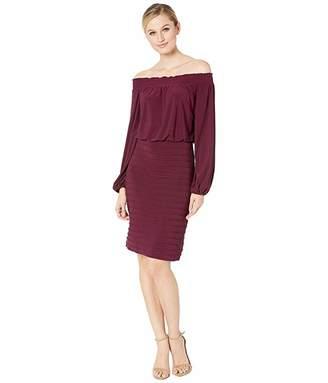 Adrianna Papell Off the Shoulder Matte Jersey Blouson Dress