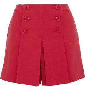 RED Valentino Button-detailed Pleated Cady Shorts