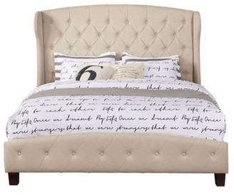 Leonel Signature Queen Size Upholstered Shelter Bed Nailhead Trim, Multiple Colors