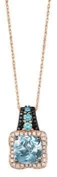 LeVian Exotics 14K Strawberry Gold, Sea Blue Aquamarine & Vanilla, Blackberry, and Iced Blueberry Diamonds Necklace