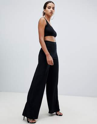 Missguided ribbed wide leg pants in black