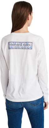 Vineyard Vines Long-Sleeve Linear Whale Tail Logo Box Fill Pocket Tee