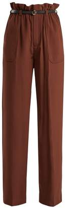Chloé - Silk Crepe De Chine Paperbag Waist Trousers - Womens - Dark Brown