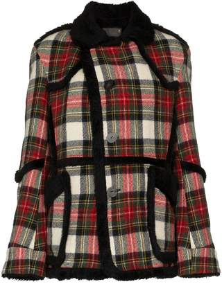 R 13 oversized check shearling wool coat