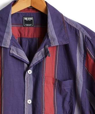 Todd Snyder Short Sleeve Awning Stripe Camp Collar Shirt