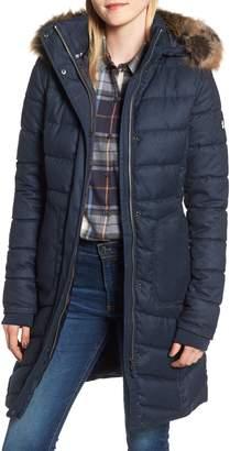 Barbour Foreland Quilt Mix Coat with Detachable Faux Fur Trim